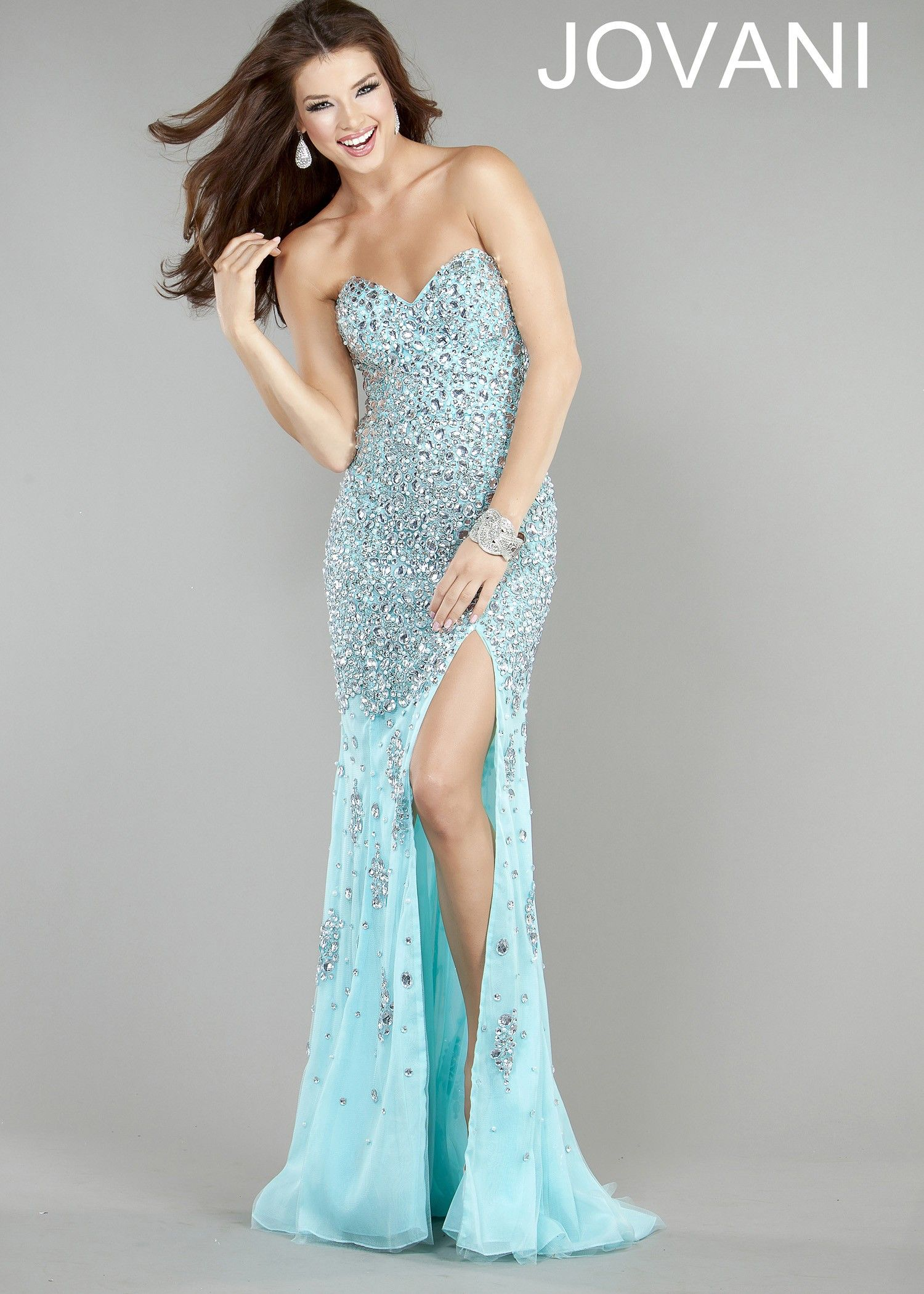 Jovani 4247 Silver/Nude Dress for $690: Long, Strapless ...