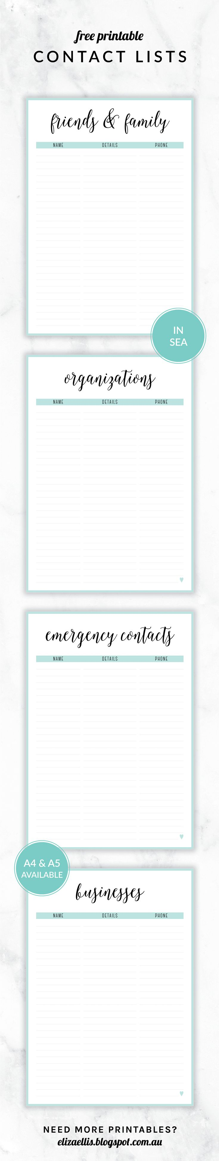 Printable Contact List Beauteous Free Printable Irma Contact Lists  Eliza Ellisincluding .