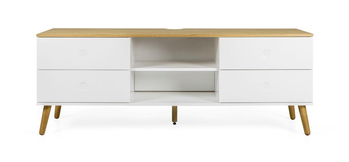 Tv-Unterteil Weiss\/ Eiche Woody 134-00440 Eiche\/ weiss Holz Modern - wohnzimmer eiche modern