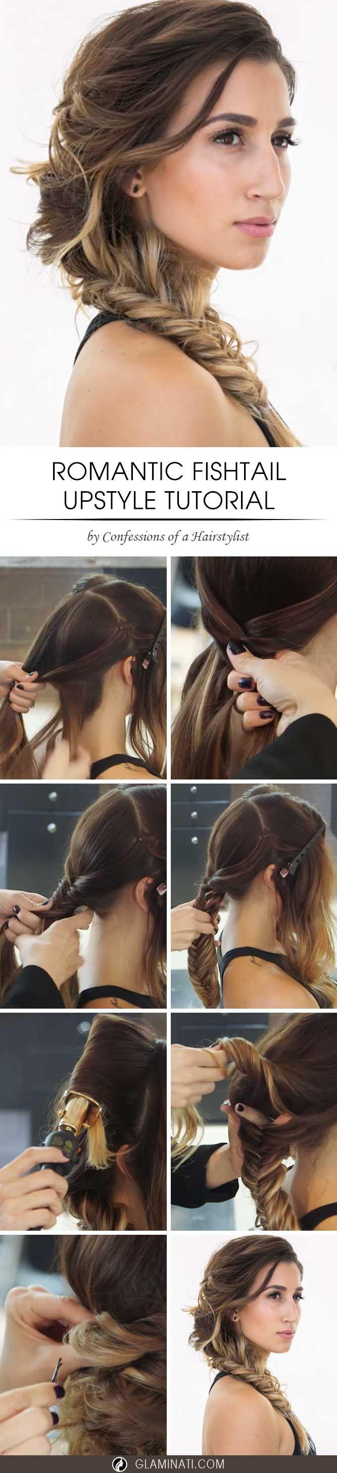 Hair howto romantic side fishtail braid upstyle wedding