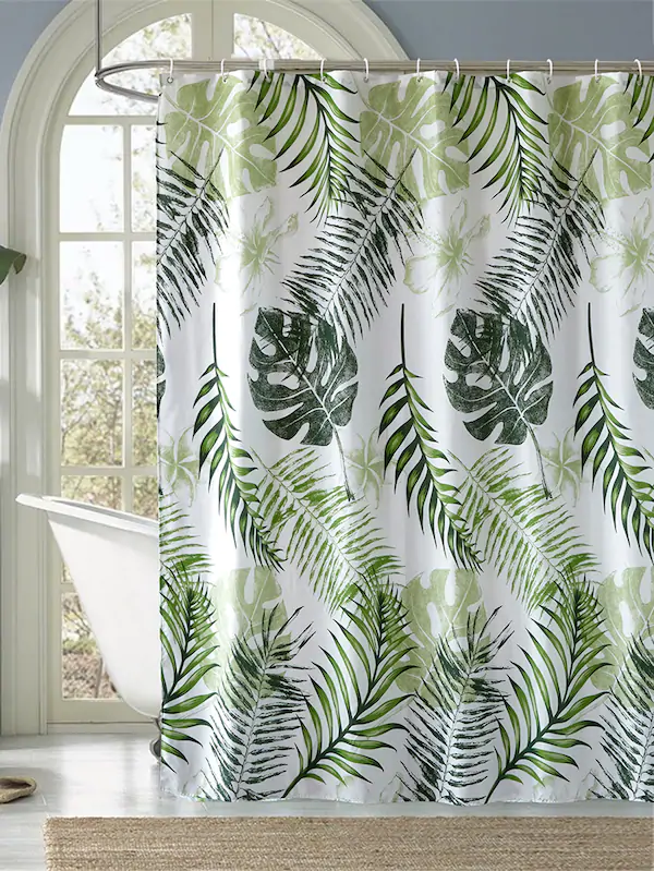 tropical plant print shower curtain