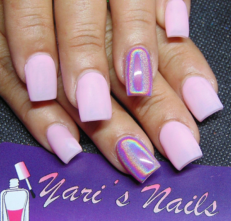 Pink Nails. Short Square Nails. Matte Nails. Holo Nails ...