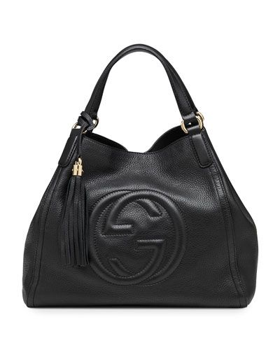 Soho Leather Shoulder Bag Black