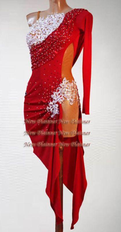 9394c125d Women Ballroom Latin Rhythm Rumba Salsa Dance Dress US 6 UK 8 Sliver Red  Color