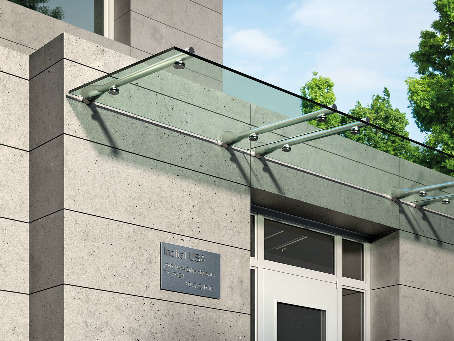 Entrance Canopy Steel Glass Cover Commercial Building