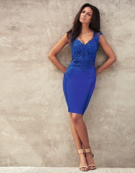 56258939f372c Lipsy Love Michelle Keegan Applique Trim Bodycon Dress