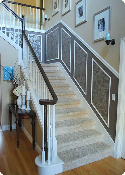 White And Dark Wood Stair Railing   Painted And Stained From Original Oak