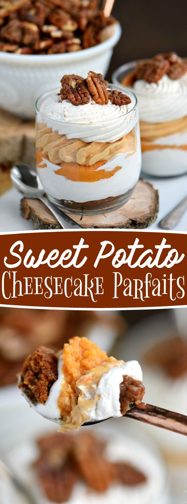 The best dessert I've had all year - Sweet Potato Cheesecake Parfaits! Layers of gingersnap cookies, marshmallow, sweet potato cheesecake and whipped cream all topped with candied pecans and a dash of cinnamon! Delight in every bite! // Mom On Timeout #ad