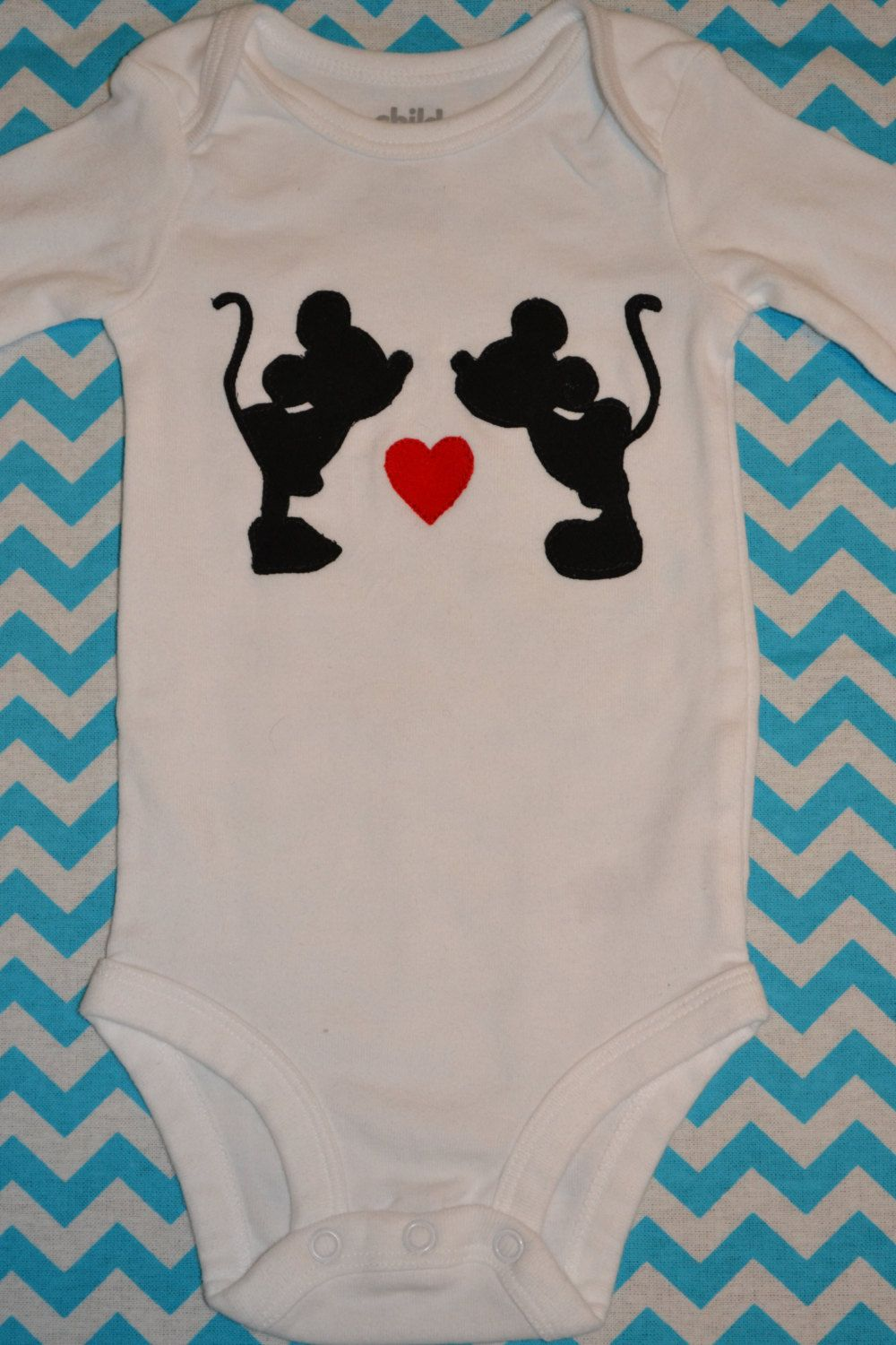 3098ca483 Disney's Mickey and Minnie Mouse Valentine's Day Kissing Heart Baby Girl  Onesie by GracefulGifts15 on Etsy