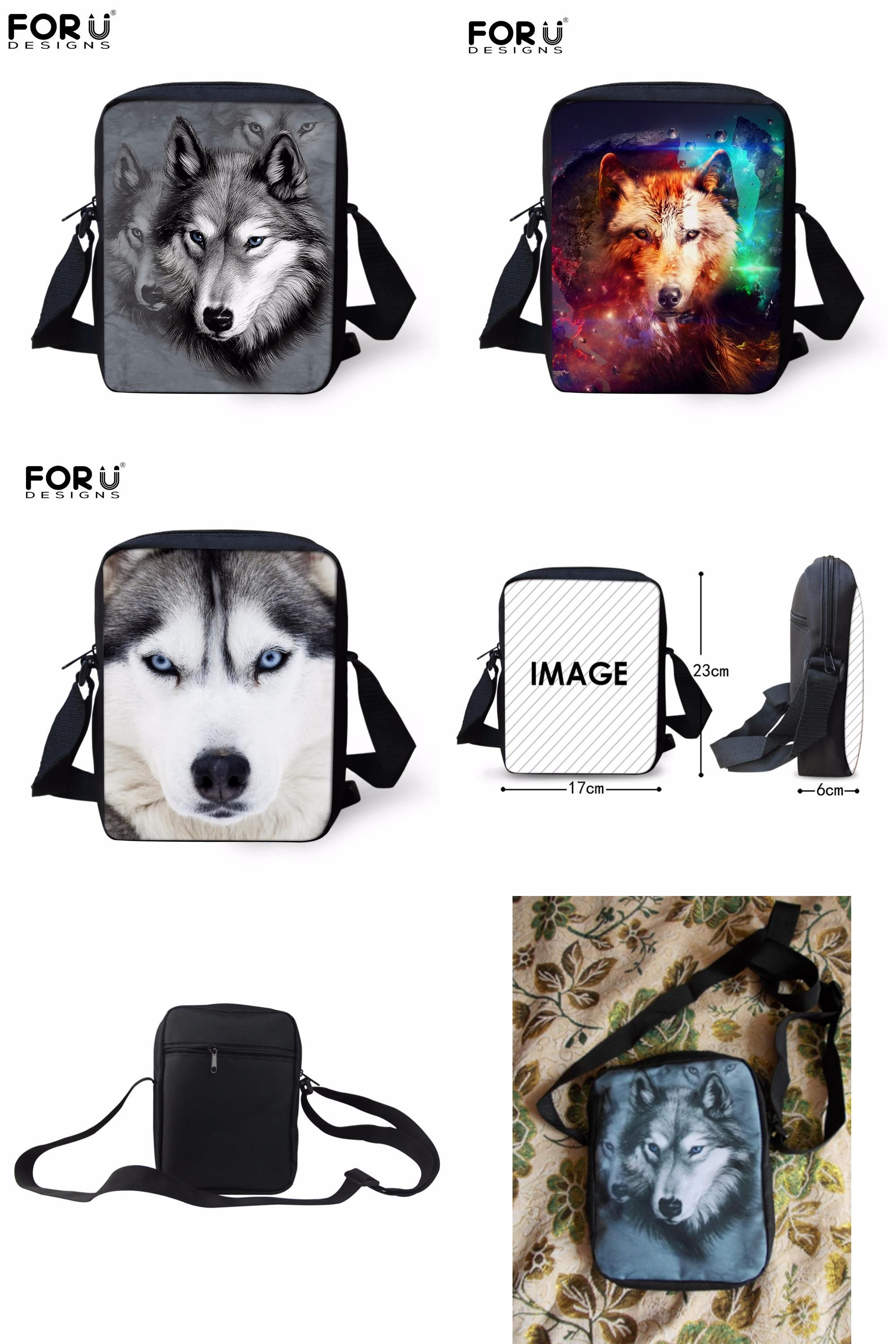 Animal Wolf Husky Cross Body Shoulder Messenger Laptop Bag