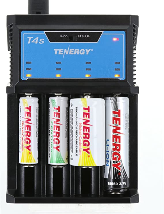 Amazon Com Tenergy T4s Intelligent Universal Charger 4 Slot Battery Charger For Li Ion Lifepo4 Nim In 2021 Universal Charger Rechargeable Batteries Battery Charger