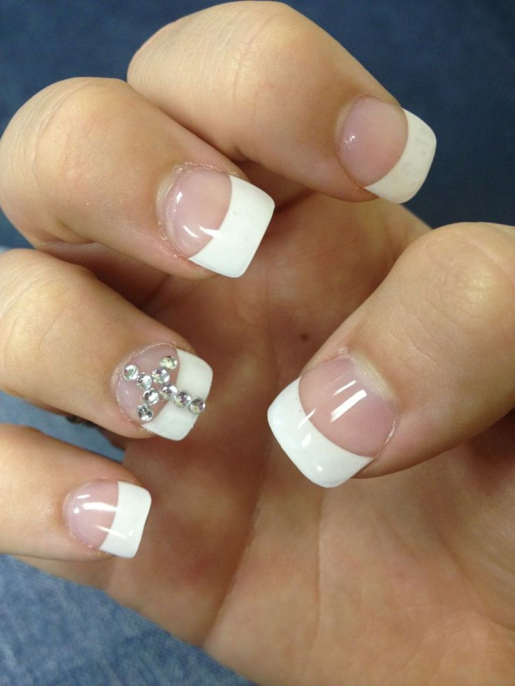 Acrylic Nails With Cross Design - Nail-designs-with-rhinestones-and-crosses-cross-acrylic-nails