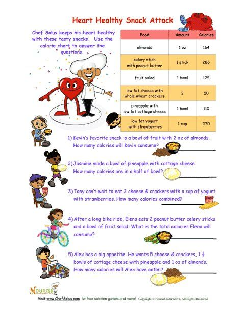 Heart Healthy Snack Attack Math Worksheet For Kids