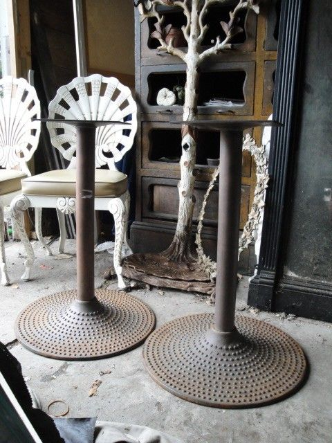 Beau Vintage Industrial Cast Iron Pair Of Table By Plainandelegant, $845.00
