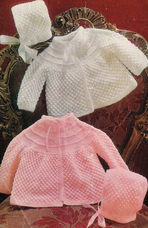a82e00b2a1ef baby matinee coat blackberry stitch vintage knitting pattern PDF ...