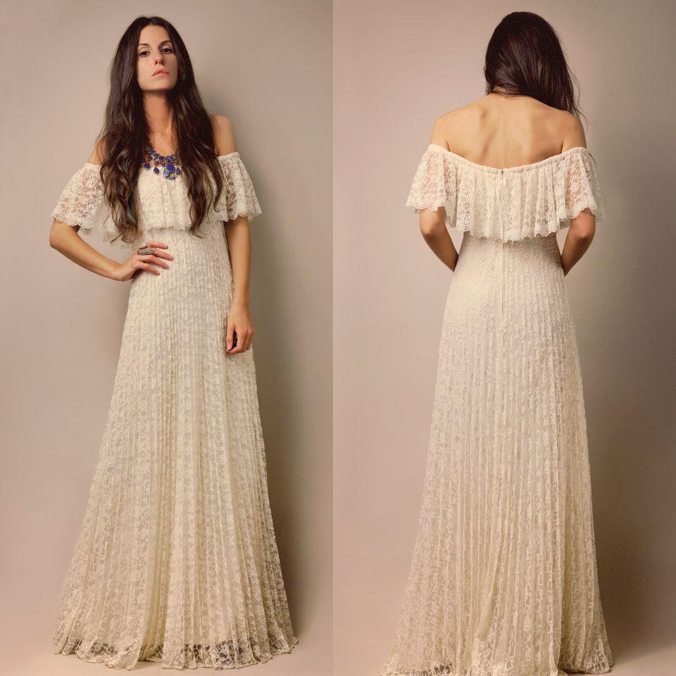 vtg s s ivory sheer lace pleated goddess off shoulder wedding