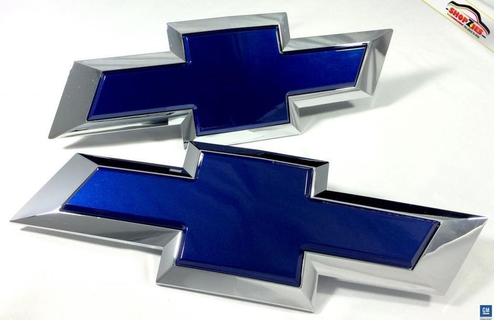 Chevy Silverado Bowtie Emblem Billet Insert Replacement 2pc Set