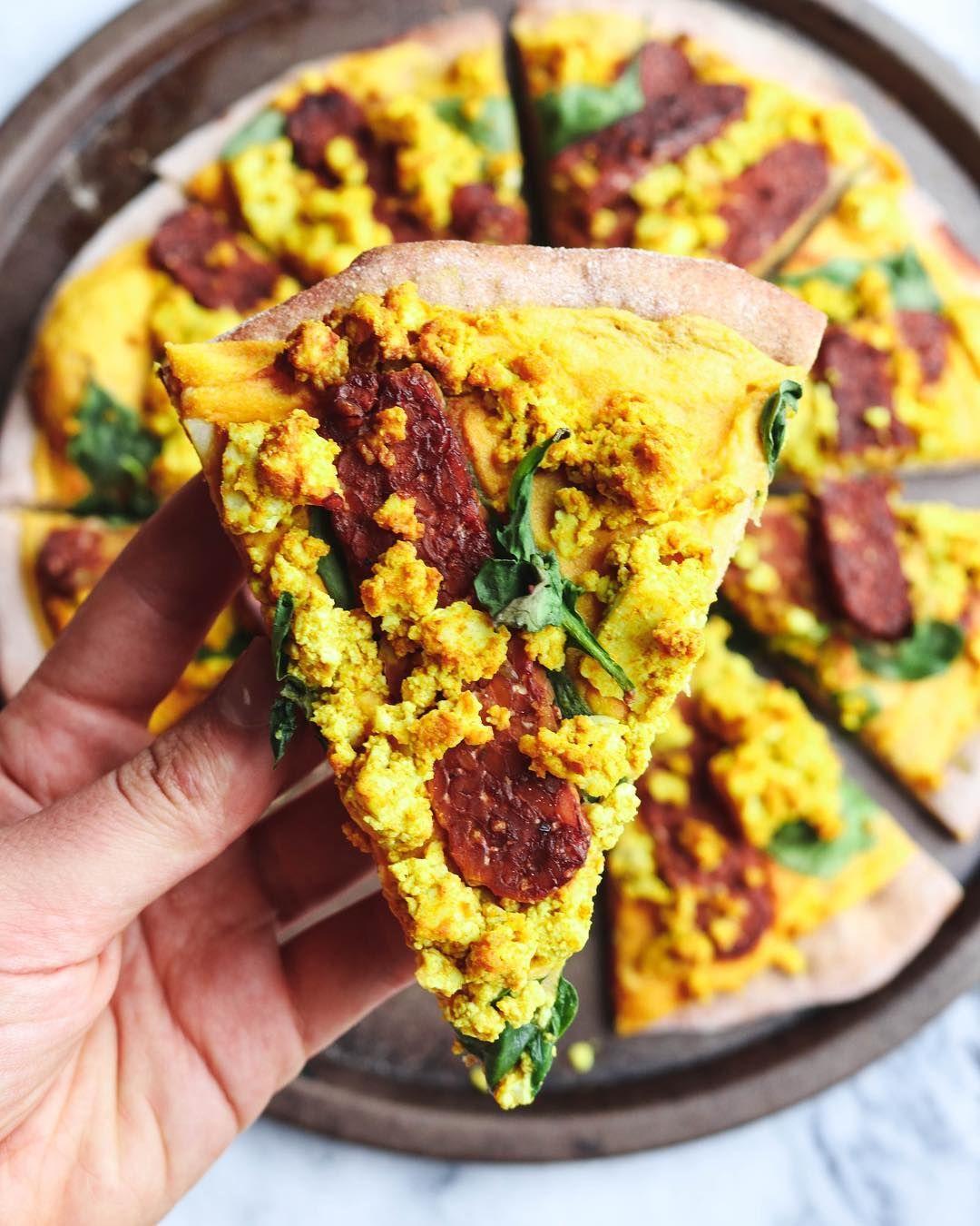 Cheezy Vegan Breakfast Pizza With Smoky Tempeh Bacon From My Bowl Recipe Vegan Breakfast Pizza Breakfast Pizza Vegan Breakfast