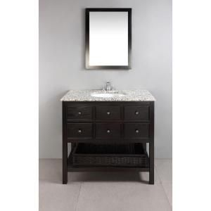 Simpli Home, Burnaby 30 in. Vanity in Espresso Brown with Granite Vanity Top in Dappled Grey and Undermounted Oval Sink, NL-DAVENPORT-EB-30-2A at The Home Depot - Mobile
