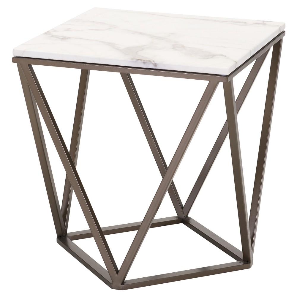 Modern Tintern Faux Marble Square End Table Stone
