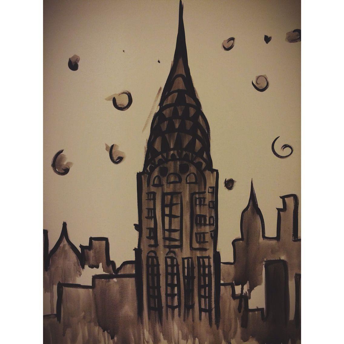 Watercolor and acrylic New York City painting  #renisoaresart