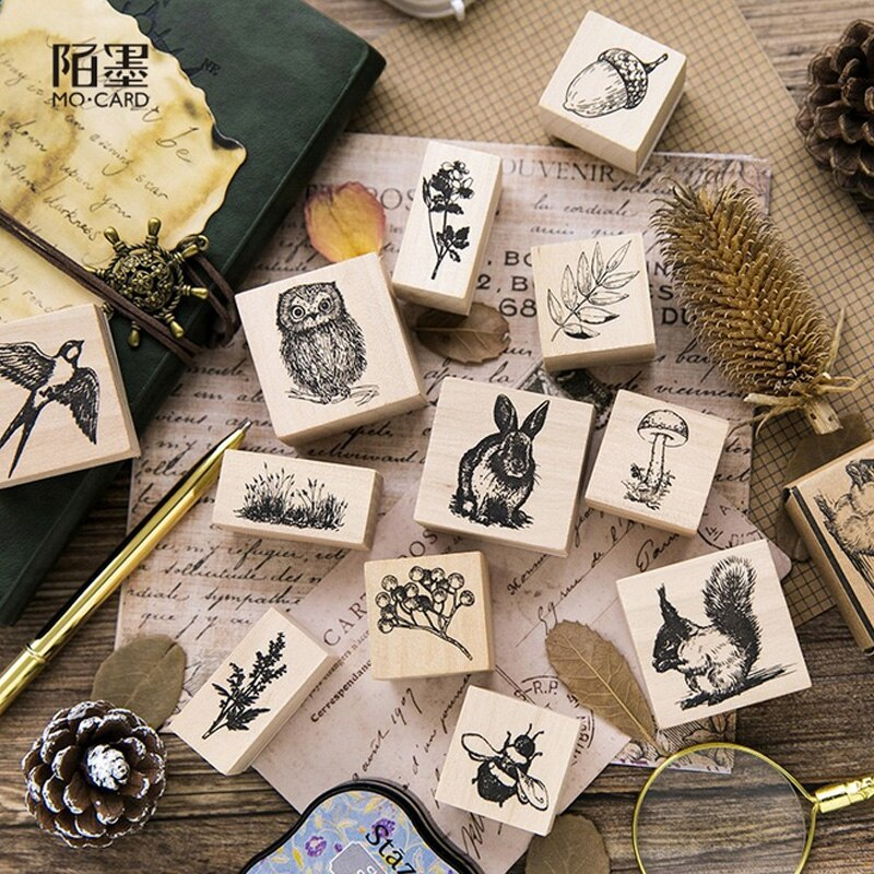 6pcs Wooden Mounted Rubber Stamp Sets Card Making Scrapbook Christmas Flower