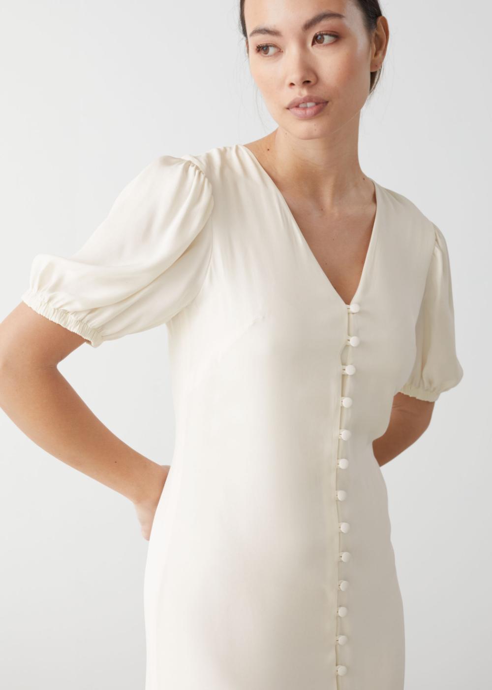 Button Down Puff Sleeve Midi Dress Clothes Midi Dress Puff Sleeve Midi Dresses [ 1400 x 1000 Pixel ]