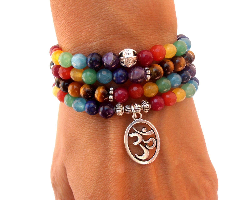 Seven Chakra 108 Mala Necklace Rainbow Stone Gemstone Necklace Seven Chakra Stretchy Bracelet 108 Mala Bracelets Chakra Necklace