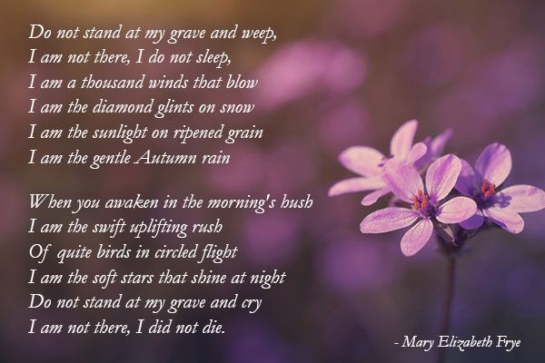 Beautiful Poem Do Not Stand At My Grave And Weep By Mary