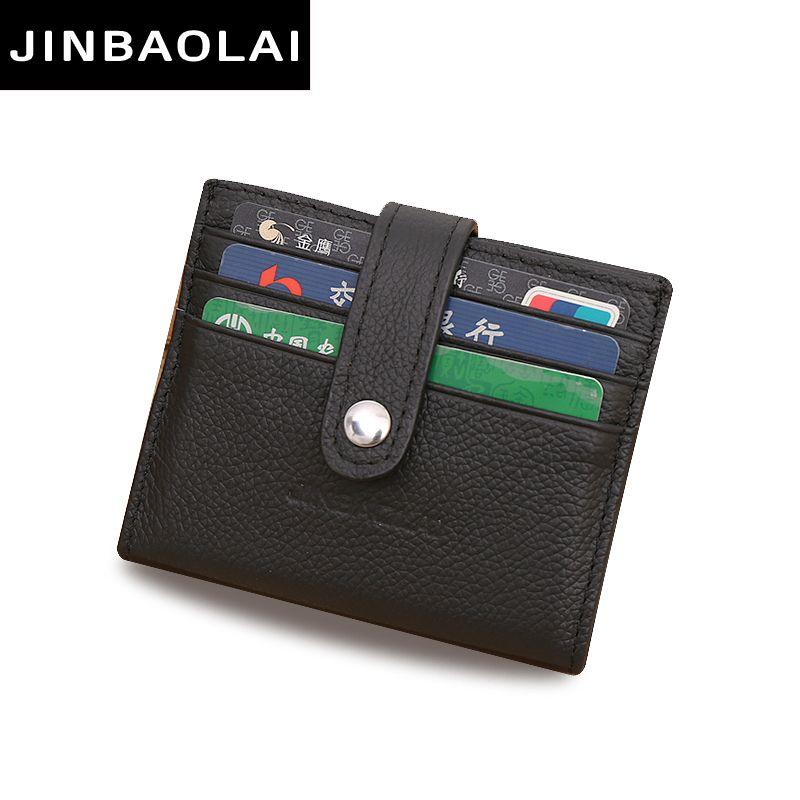 Jinbaolai hasp business genuine leather card holder solid