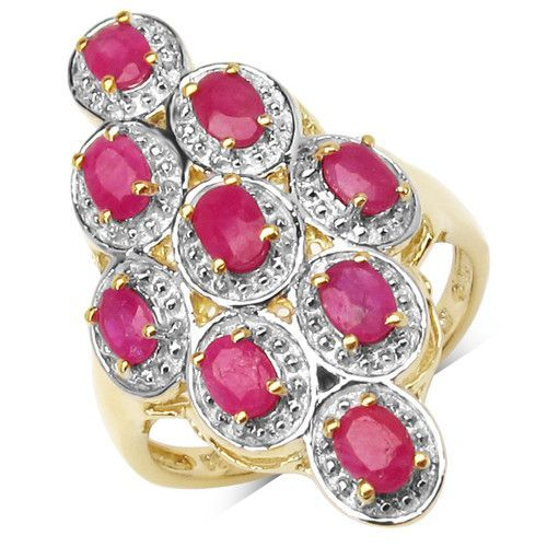 14K Yellow Gold Plated 2.25 Carat Genuine Ruby .925 Sterling Silver Ring