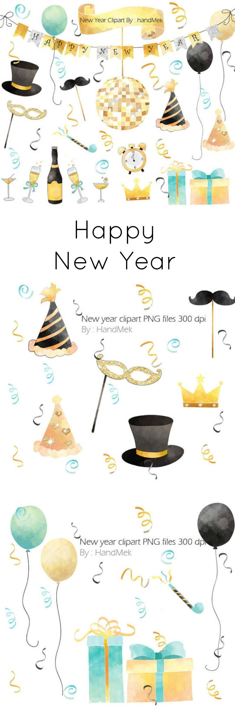 Happy New Year Graphics In Gold Silver And Pastel Colours Ad Graphicdesign Newyears Watercolor New Year Clipart Clip Art Digital Graphics