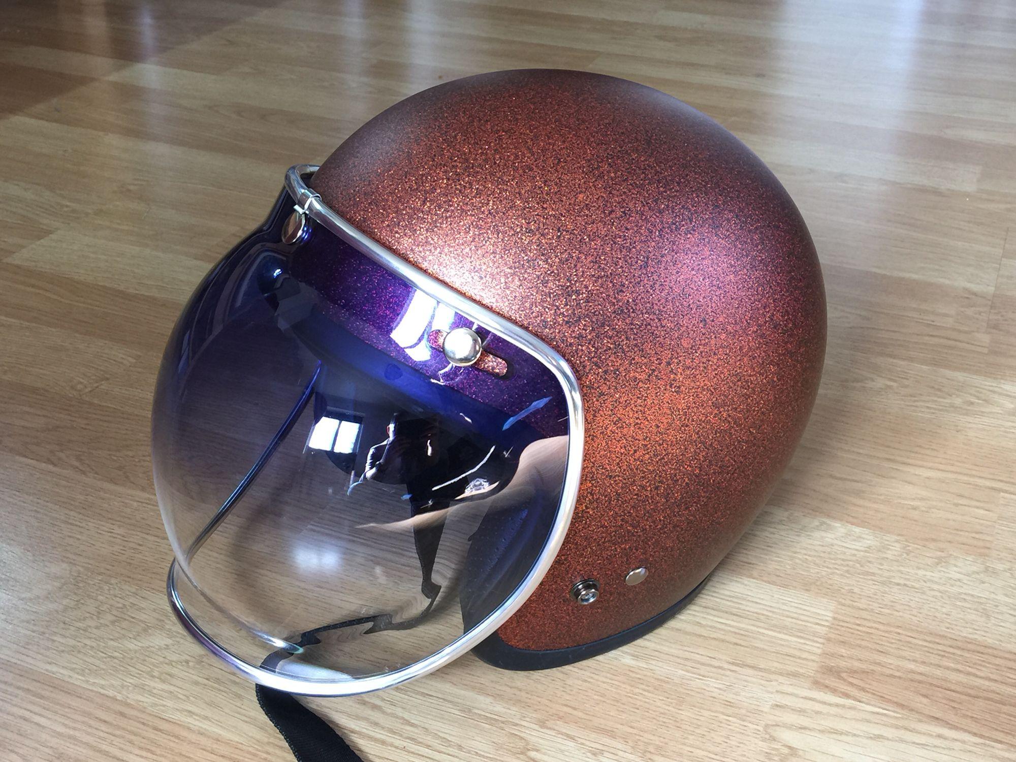 ea960e40 My Harley helmet... Bell Custom 500 in matte orange flake with blue  gradient Delux Bell Bubble Shield