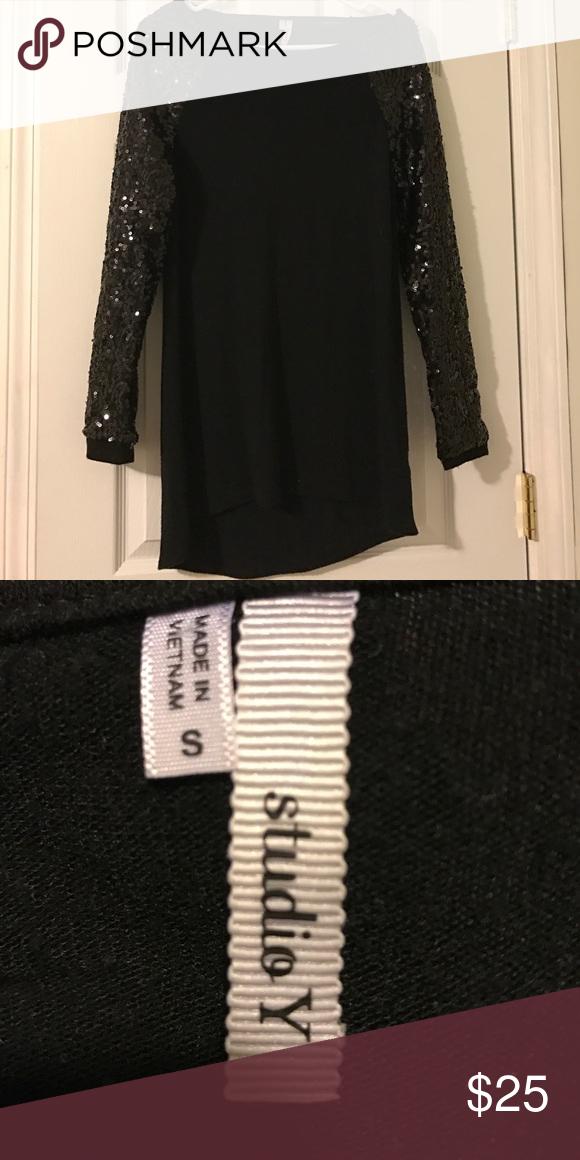 Black long sleeve Rhinestones Tops Tunics