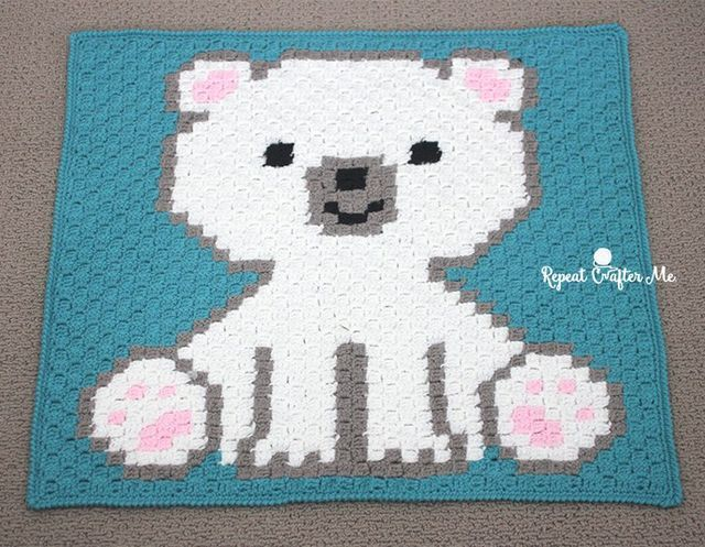 Polar Bear Cub Crochet C2C Blanket (Repeat Crafter Me)
