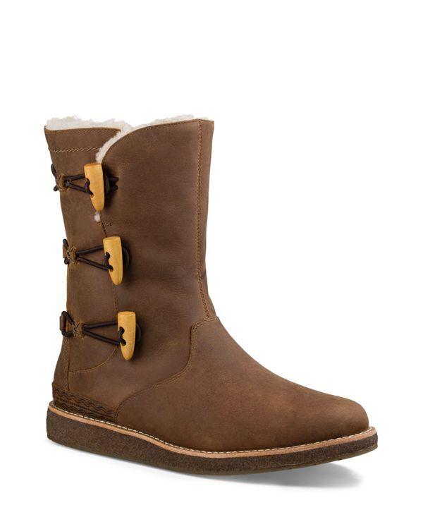 Ugg Kaya Leather and Sheepskin Toggle Booties