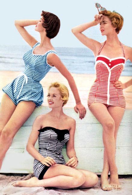 Vintage Badekleid Badeanzug im Retro Rockabilly Stil Swimdress Bademode