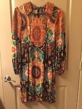 Vintage Neiman Marcus Long Sleeve Patterned Dress With Belt
