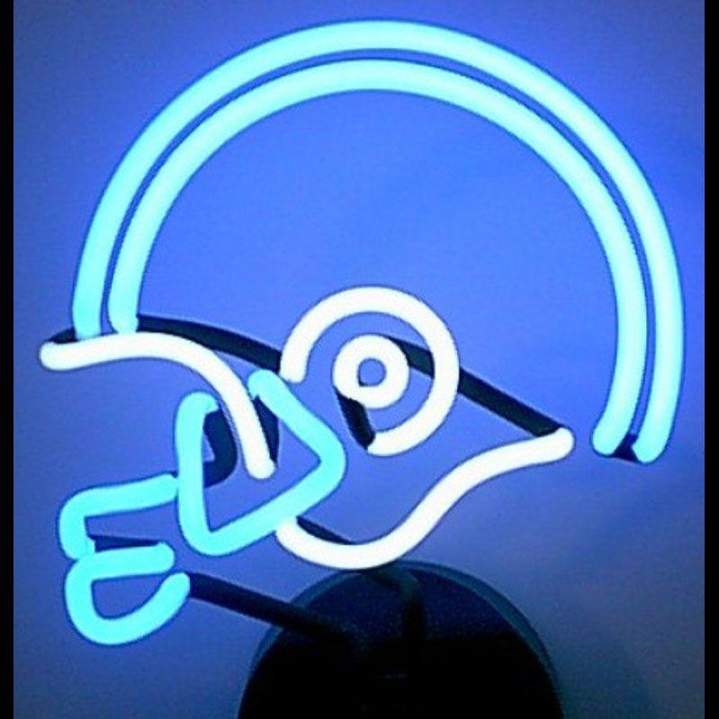 4bwhel blue and white football helmet neon sculpture
