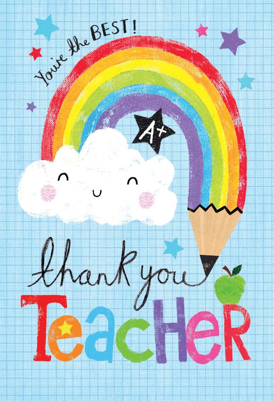 Rainbow Pencil Thank You Card For Teacher Greetings Island Teacher Appreciation Cards Happy Teachers Day Card Teacher Cards
