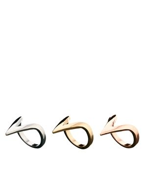 River Island Three Pack Triangle Ring Set