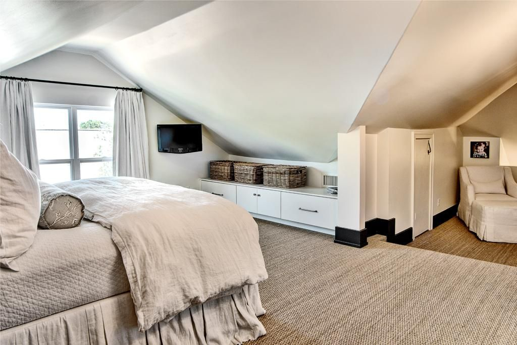 Attic Master Bedroom bedding idea - from cote de texas: two houses for two stages of