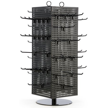 Countertop Pegboard Spinner Rack Magnetic 60 Hooks Black With