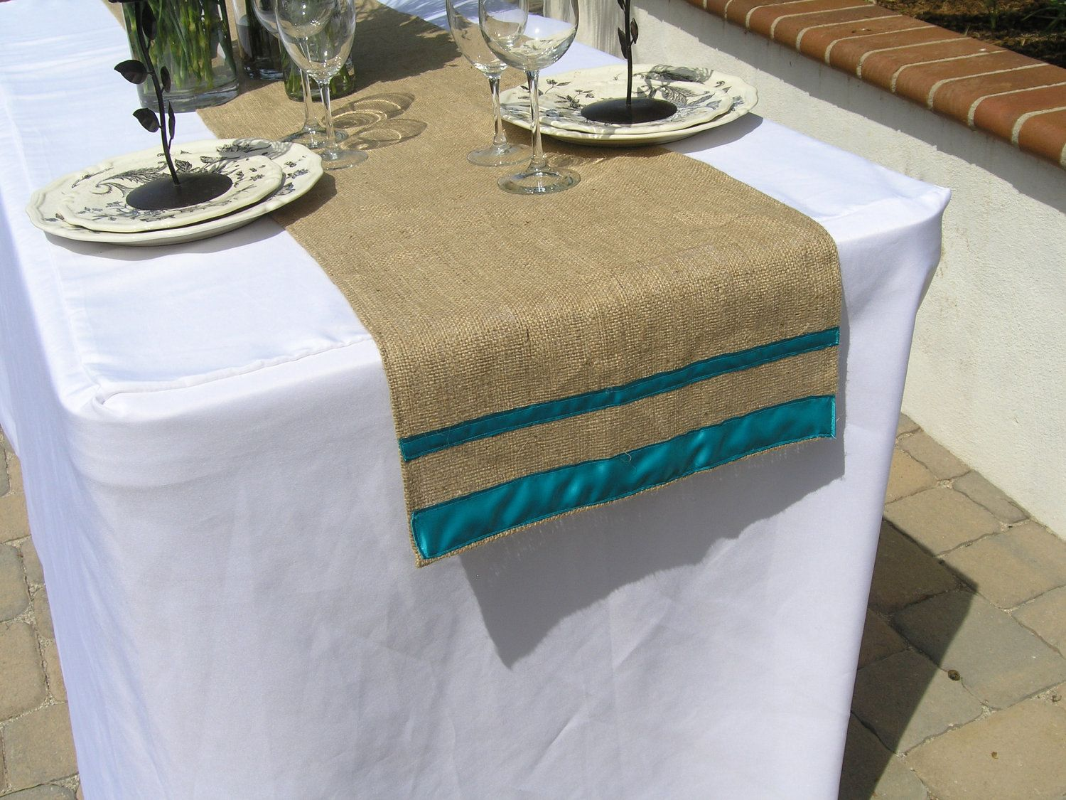 burlap table runner with ribbon wedding shower party home decor