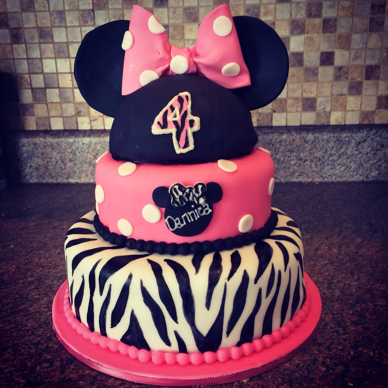 Minnie Mouse zebra cake Custom Cakes by Heather Pinterest