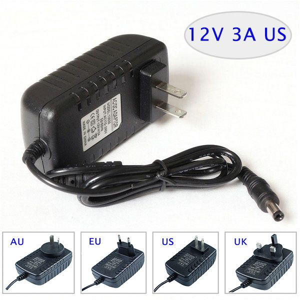 Led Switching Ac Dc Adapter 12v 3a 36w Wall Mounted With Plug Eu Usa Au Uk Plug Available Please Let Us Know When Ordering Acdc Plugs Wall Mount