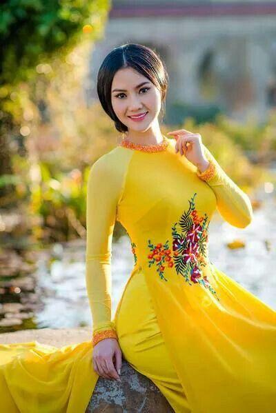 Dress Yellow  Vietnamese Traditional Dress, Vietnamese -6614