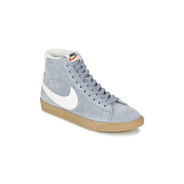 Nike BLAZER MID SUEDE VINTAGE W Shoes Hightop Trainers 110  liked on  Polyvore featuring shoes sneakers grey high top trainers women nik