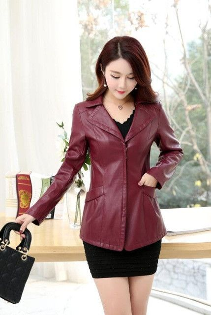 cdc5cacc5 Middle-aged ladies leather jacket spring and autumn 30-40-50 years ...
