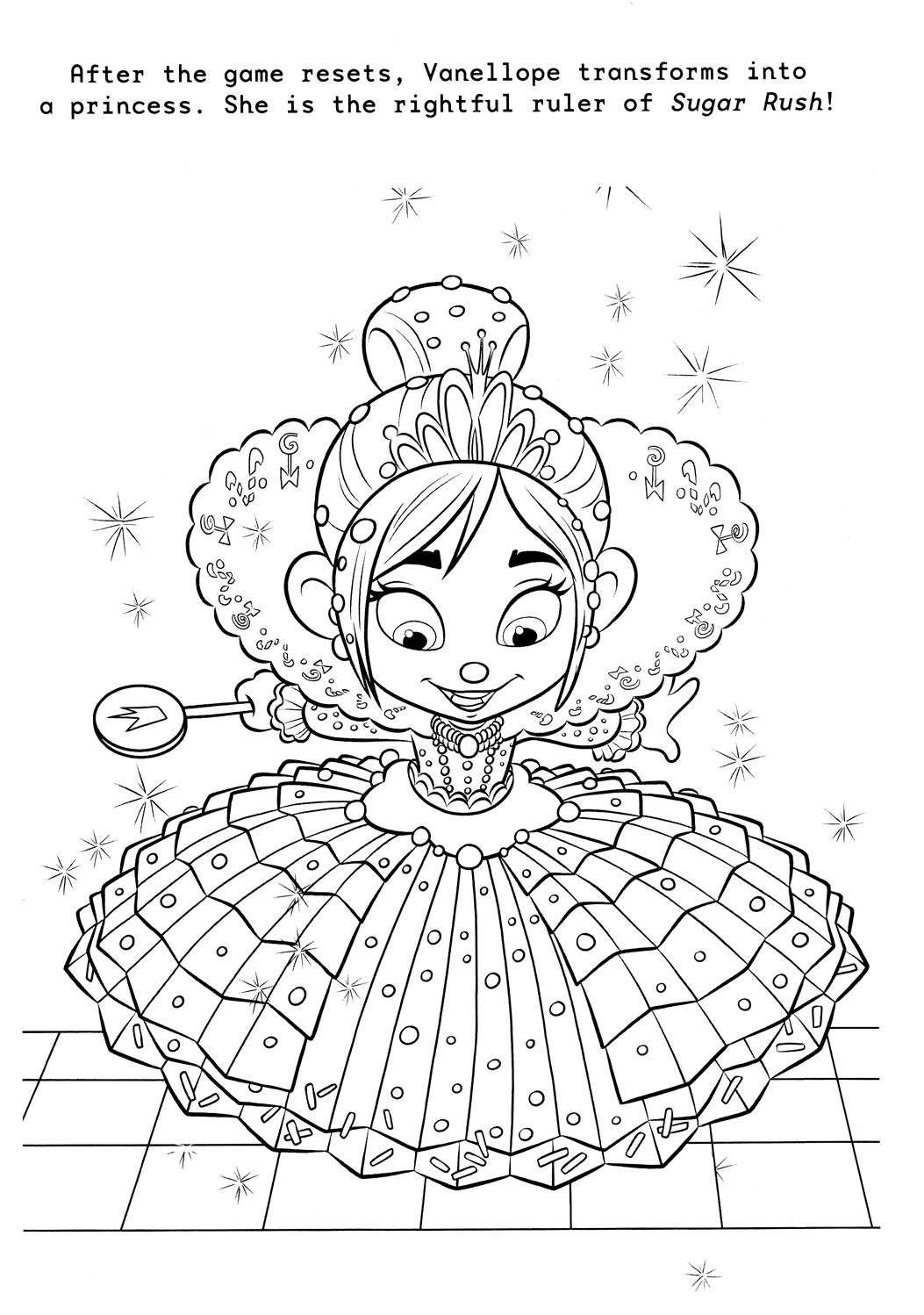 Wreck It Ralph Coloring Page Of Vanellope In Her Dress